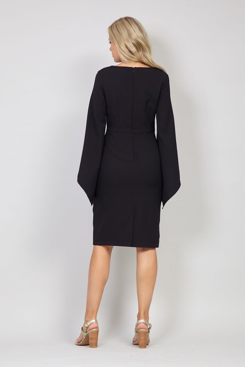 Black | Flared Sleeve Bodycon Dress