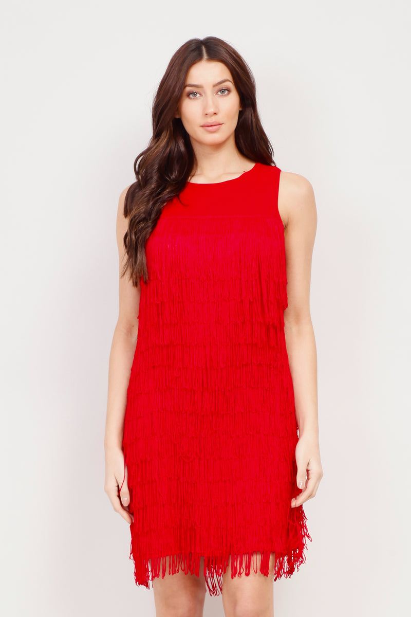 Red | Fringed Layered Shift Dress