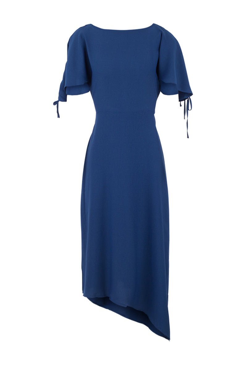 Blue | Tie Sleeve Asymmetric Dress