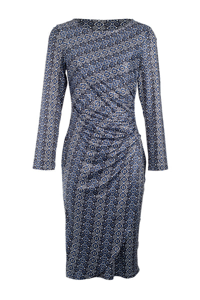 Aztec Ruched Midi Dress - Izabel London
