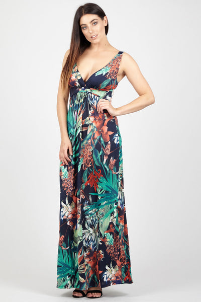 Plunge Neck Maxi Dress - Izabel London