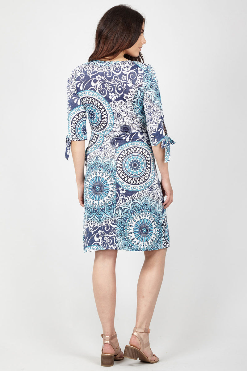 Geo Print Wrap Dress - Izabel London