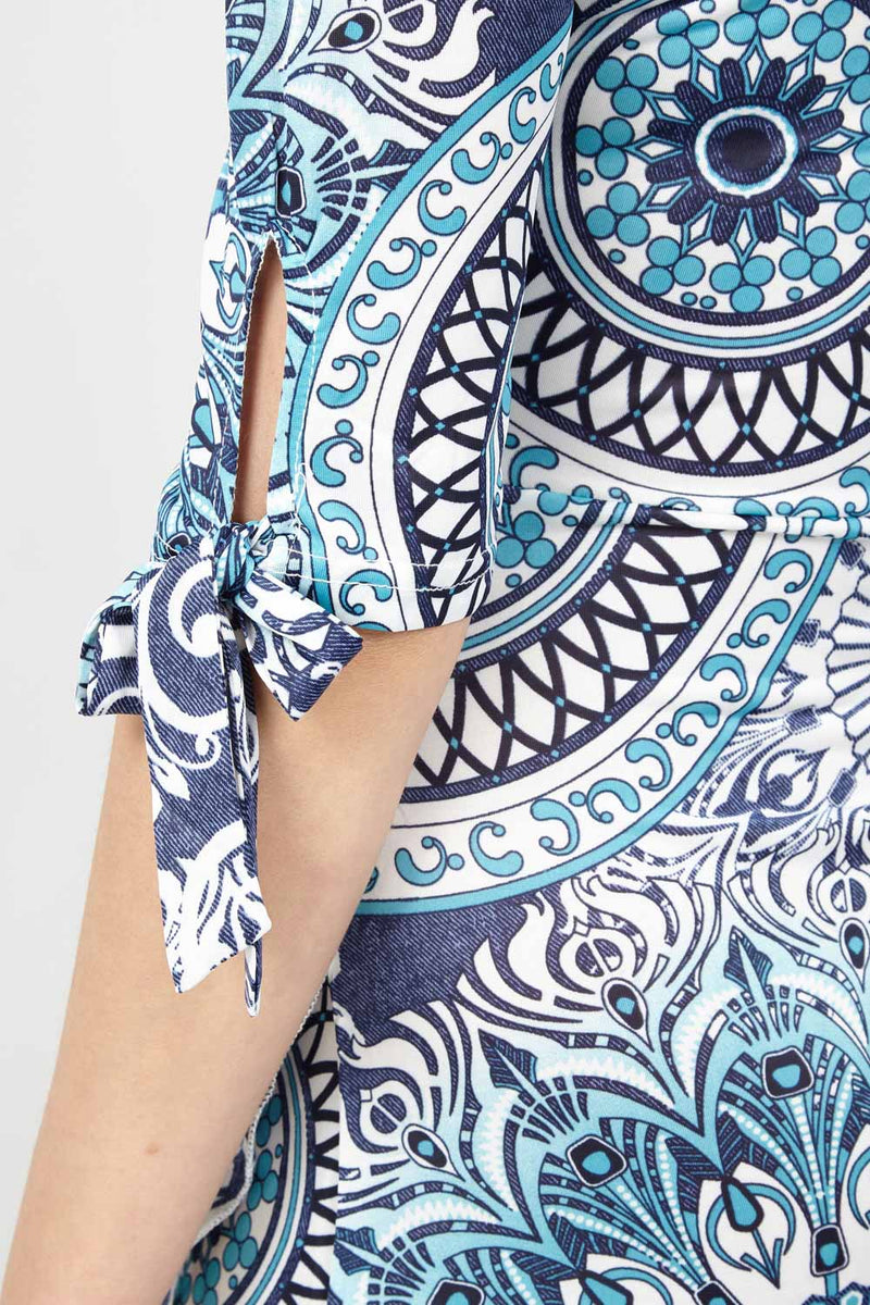 Blue | Geo Print Wrap Dress