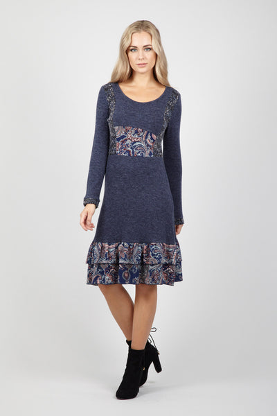 Paisley Panel Knit Dress - Izabel London