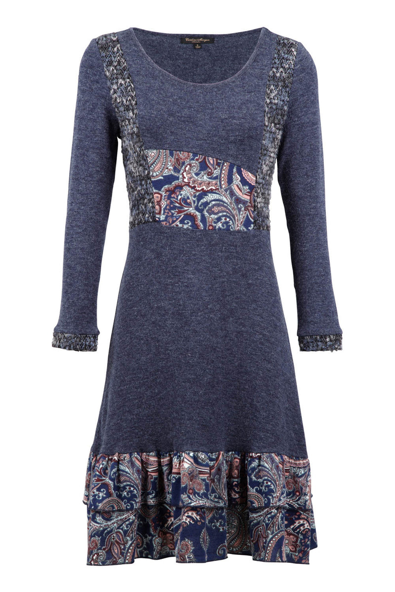 Navy | Paisley Panel Knit Dress