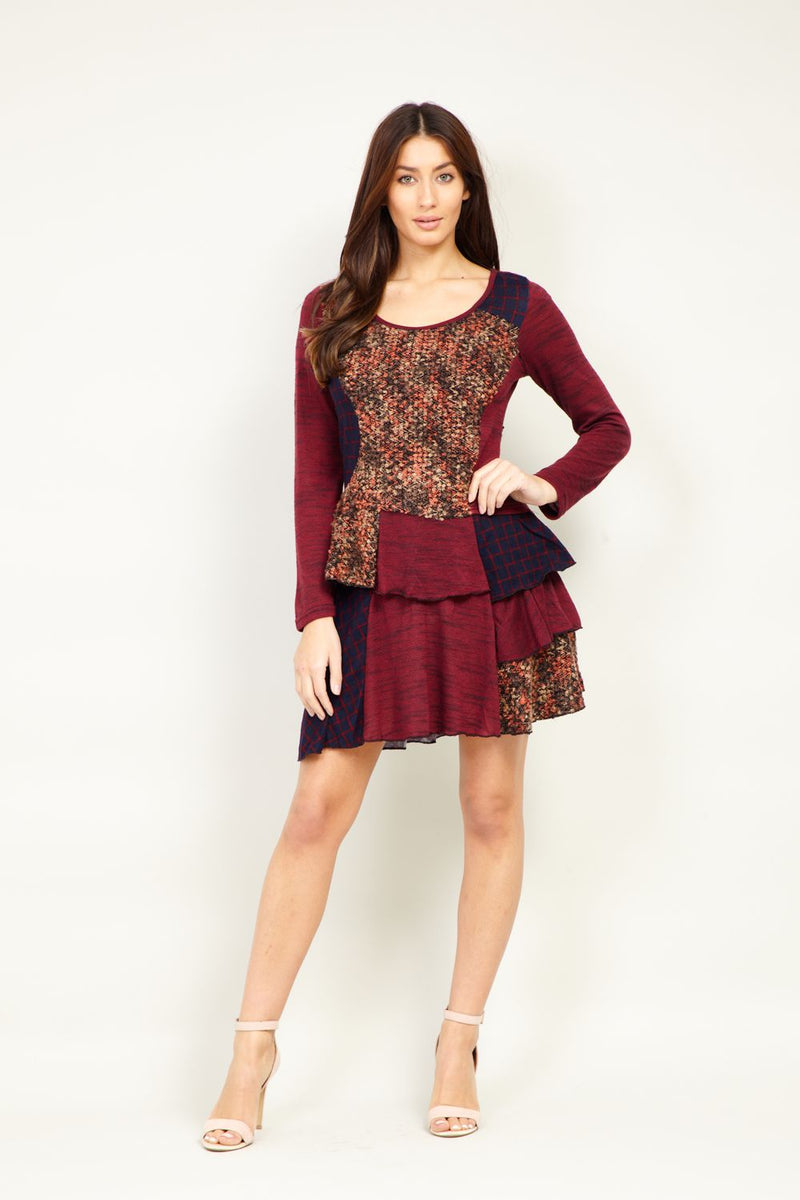 Patchwork Frill Hem Dress - Izabel London
