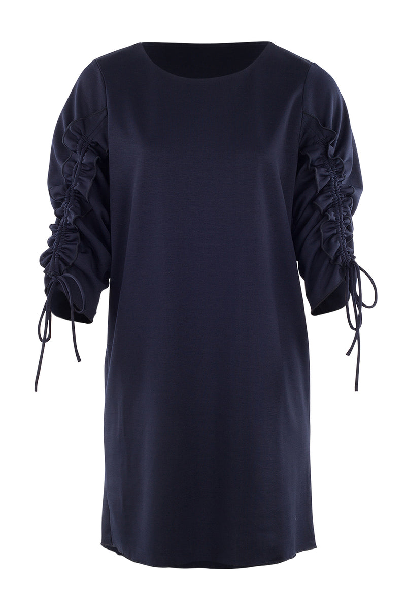 Gathered Sleeve Shift Dress - Izabel London