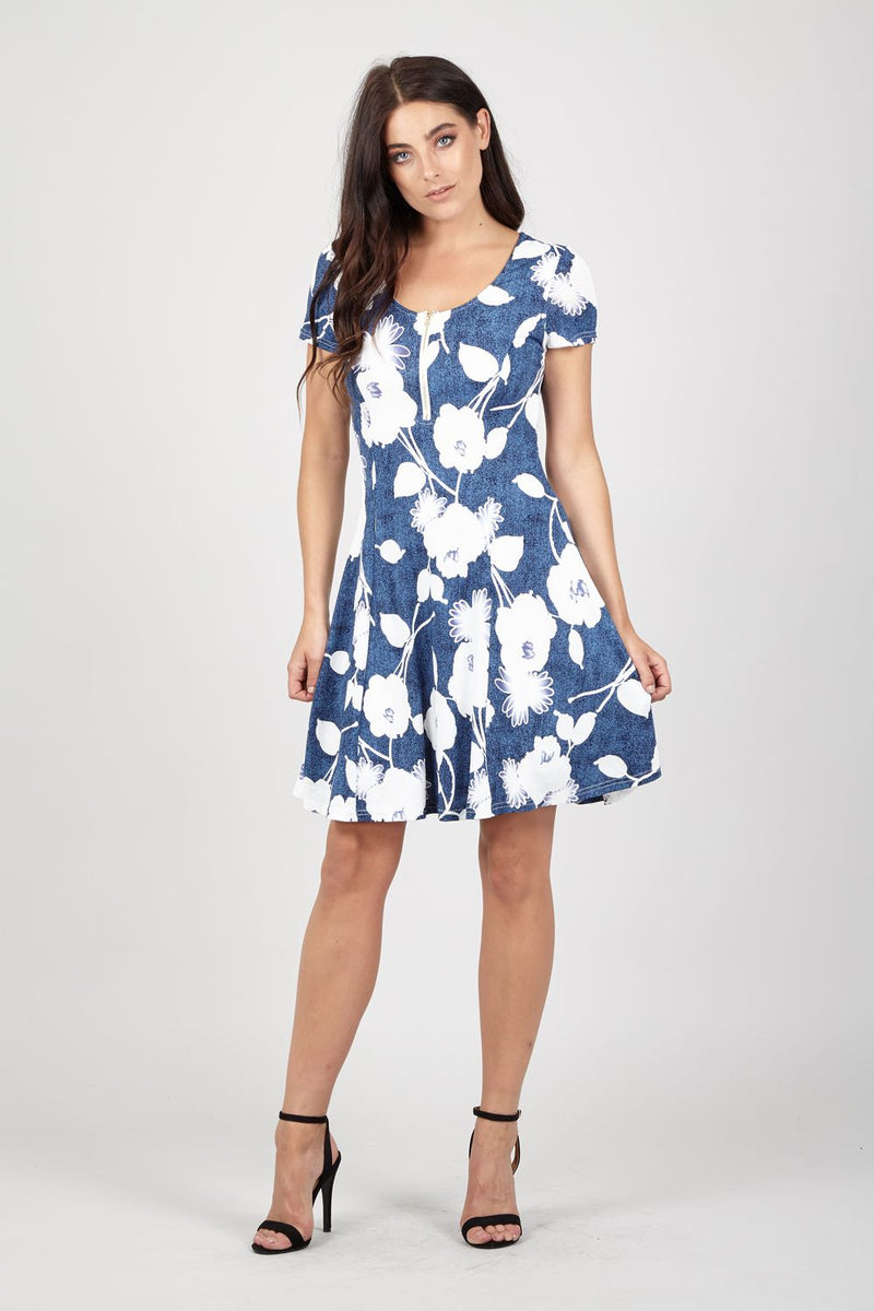 Blue | Zip Front Floral Print Dress