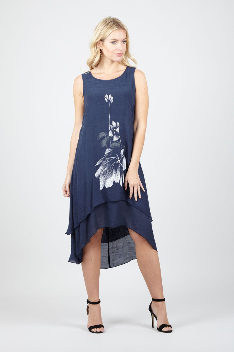 Navy | Floral Layered Hem Swing Dress