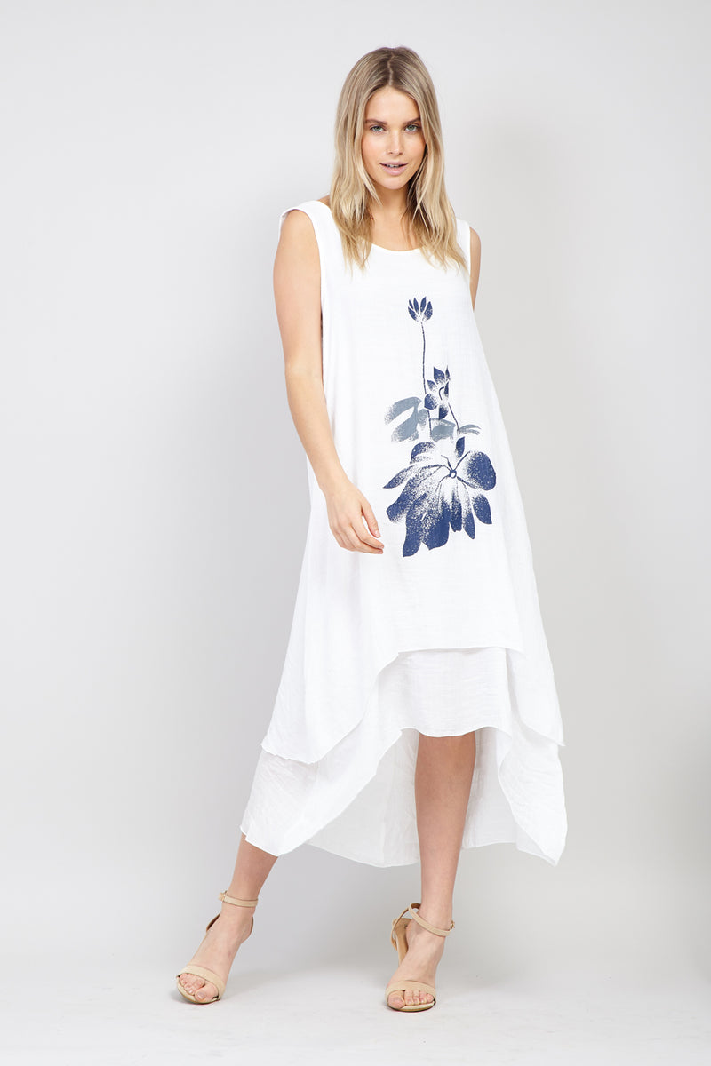 White | Floral Print Swing Dress