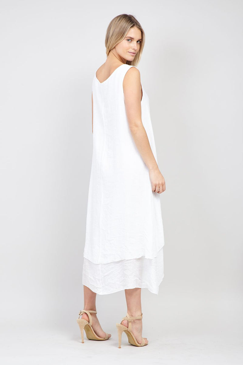 White | Floral Layered Hem Swing Dress
