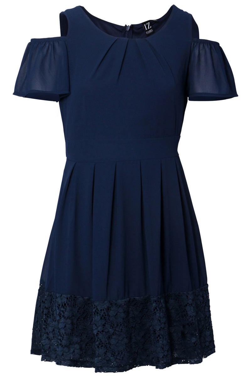 Navy | Cold Shoulder Tea Dress