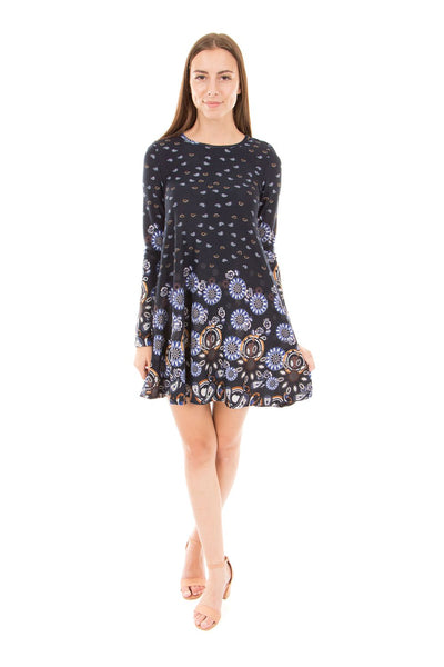 Daisy Print Swing Dress - Izabel London