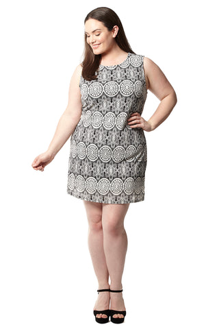 Plus Size Mosaic Shift Dress