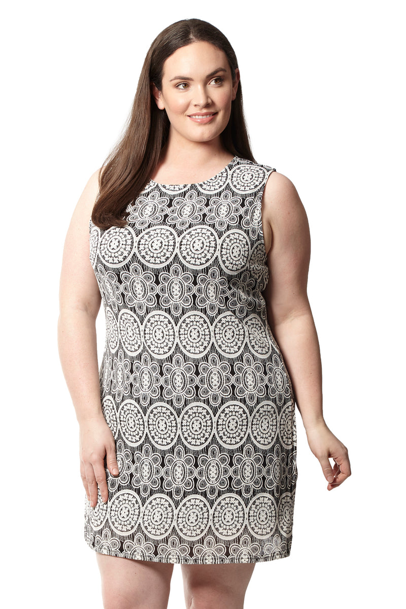 Black | Curve Mosaic Shift Dress