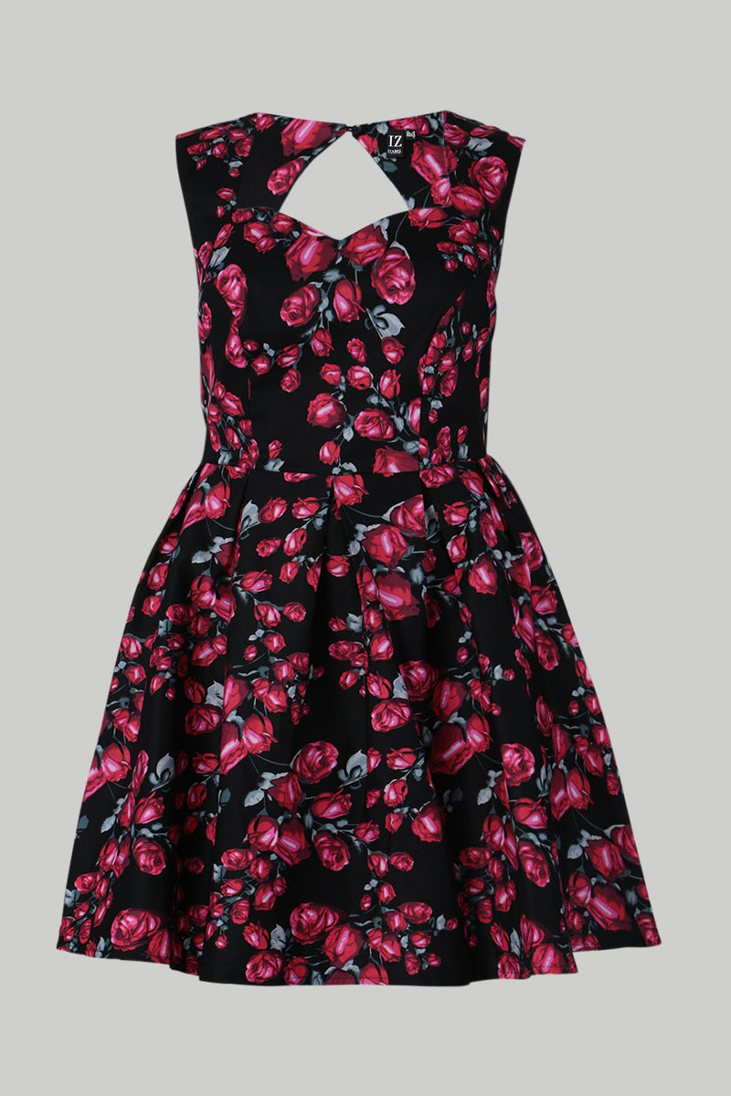 Red | Curve Floral Sweetheart Dress