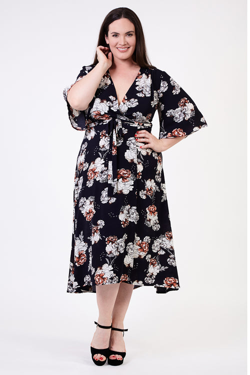 Curve Floral Midi Dress - Izabel London
