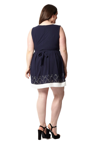 Curve Lace Panel Skater Dress - Izabel London