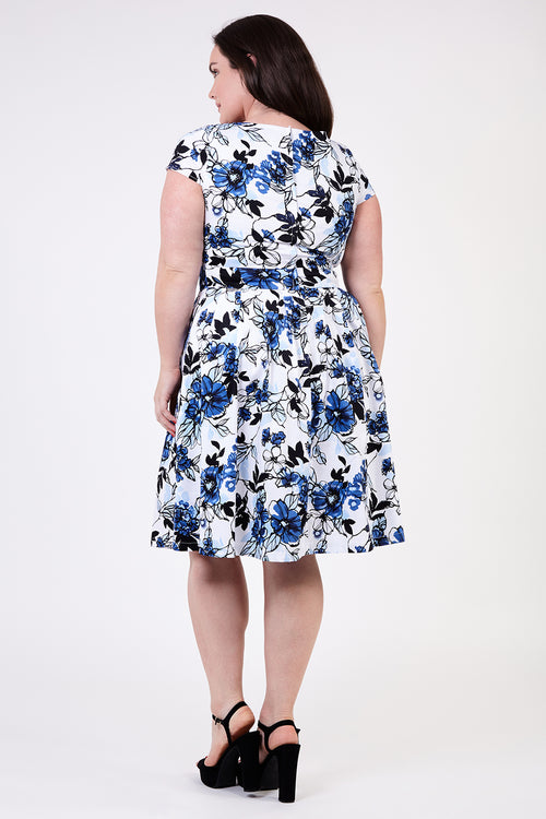 Curve Floral Fit & Flare Dress - Izabel London