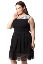 Curve Lace Skater Dress - Izabel London