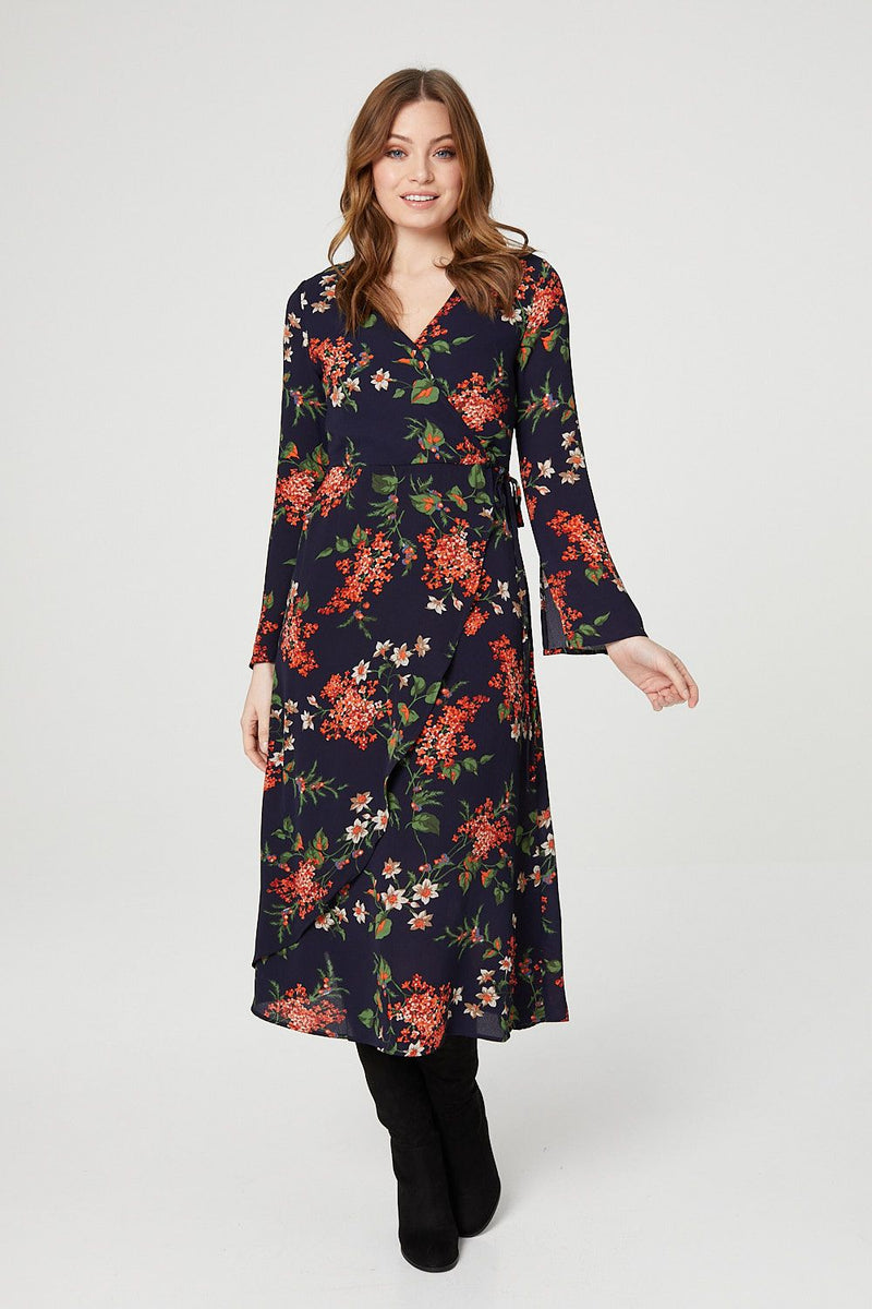 Navy | Floral Wrap Front Tea Dress