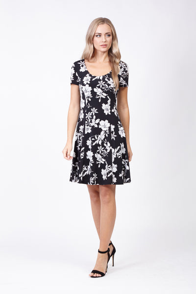 Floral Skater Dress - Izabel London