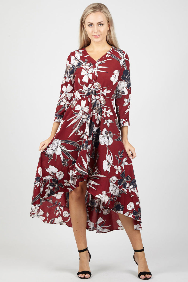 Floral Button Up Dress - Izabel London