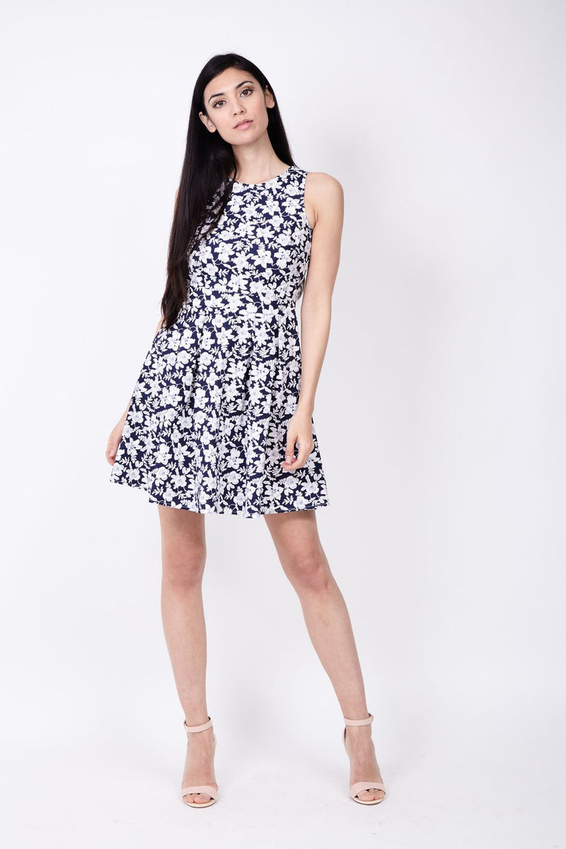 Navy | Floral High Neck Dress