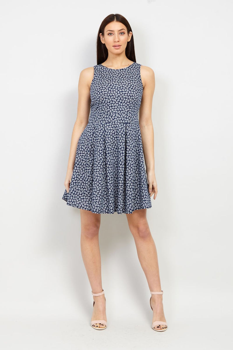 Navy | Ditsy Floral Skater Dress