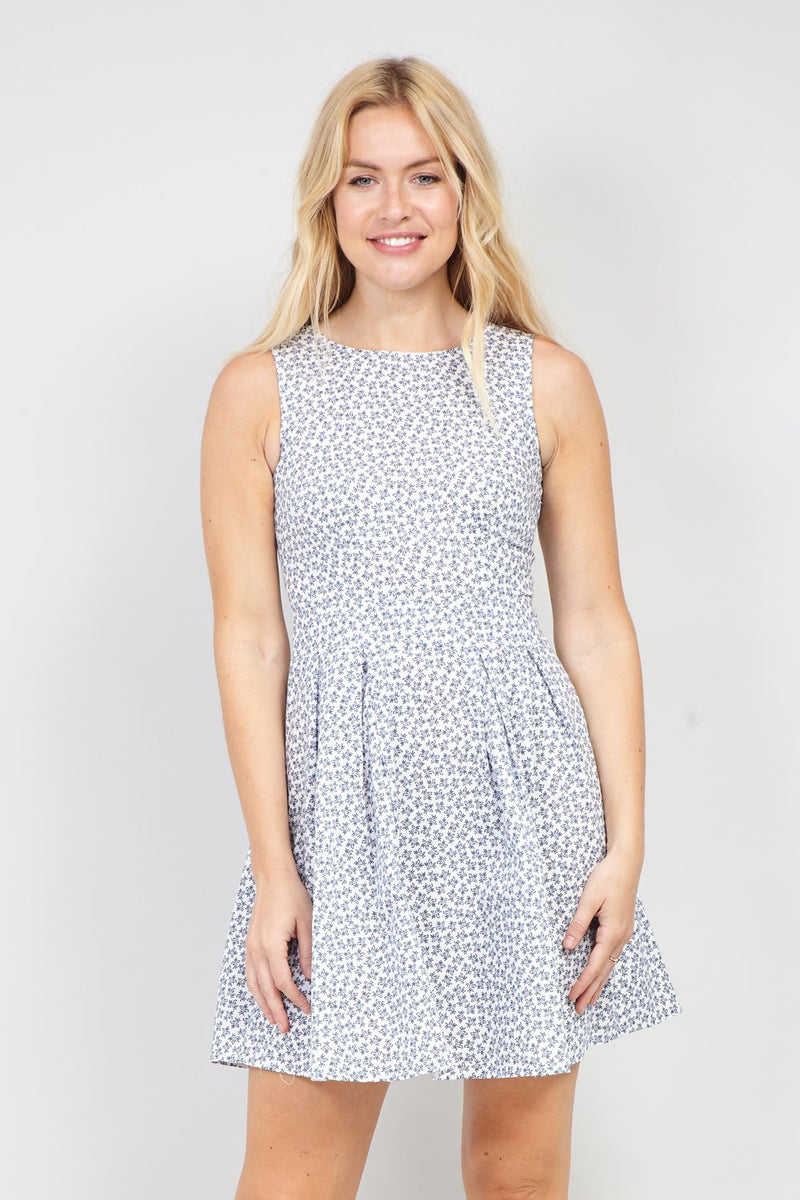 White | Ditsy Floral Skater Dress