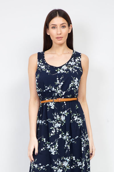 Floral Belted Midi Dress - Izabel London