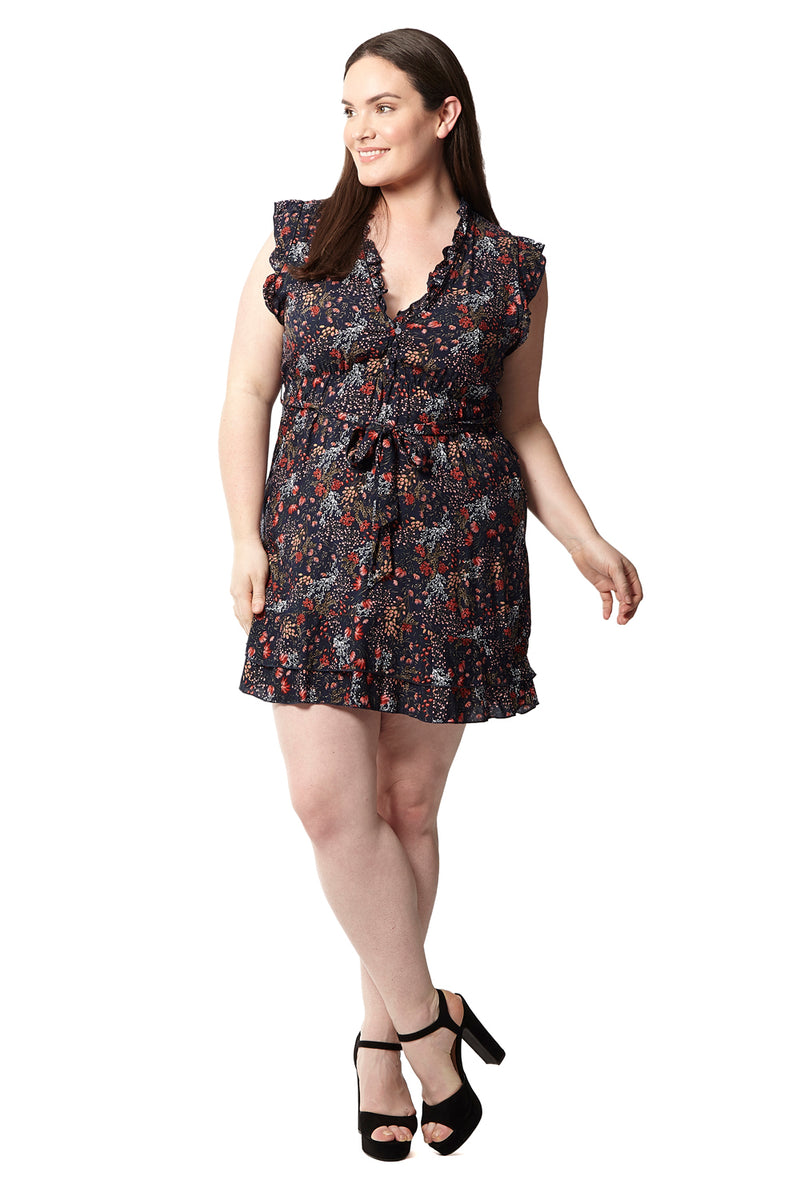 Curve Floral Tea Dress - Izabel London
