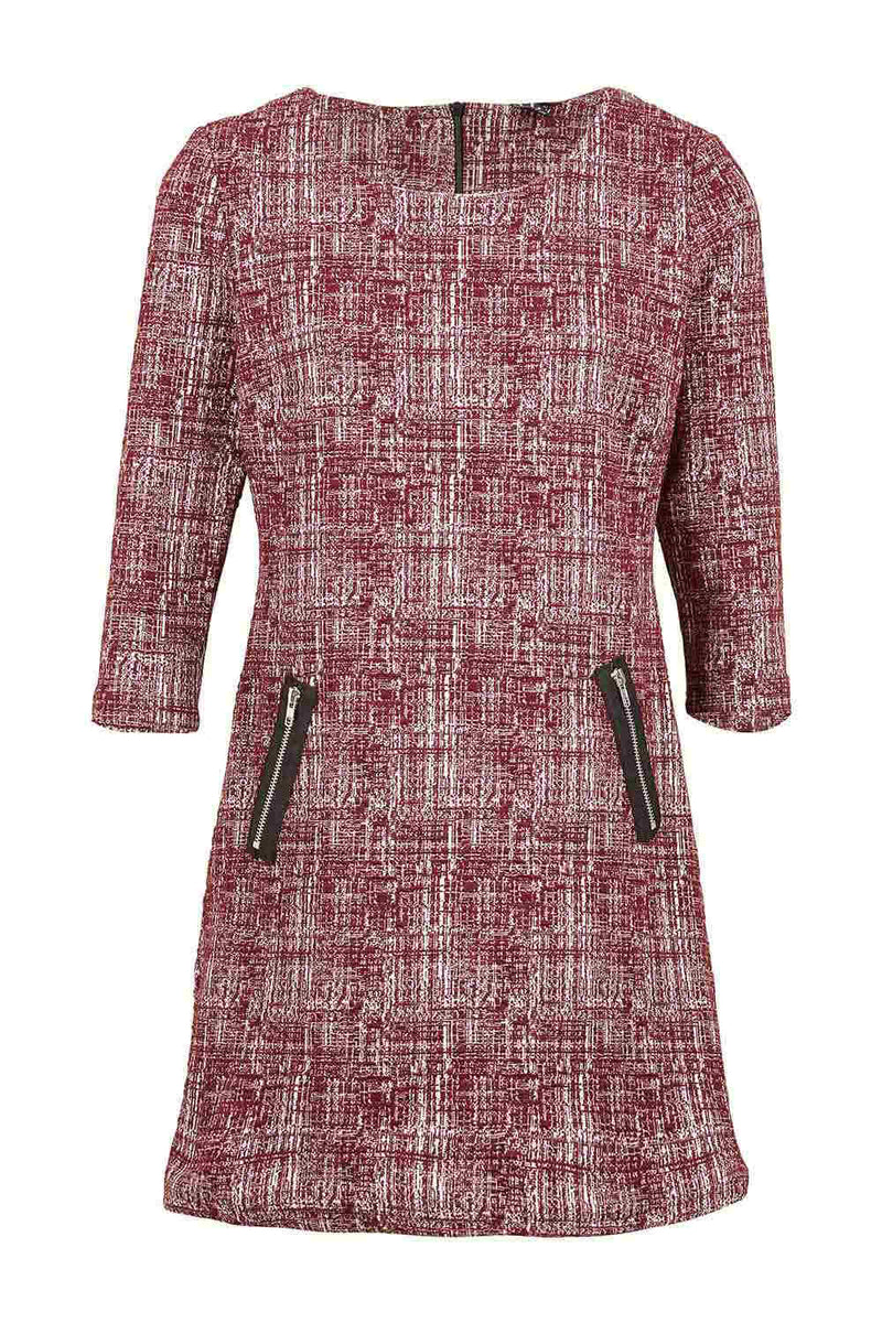 Grid Print Shift Dress - Izabel London