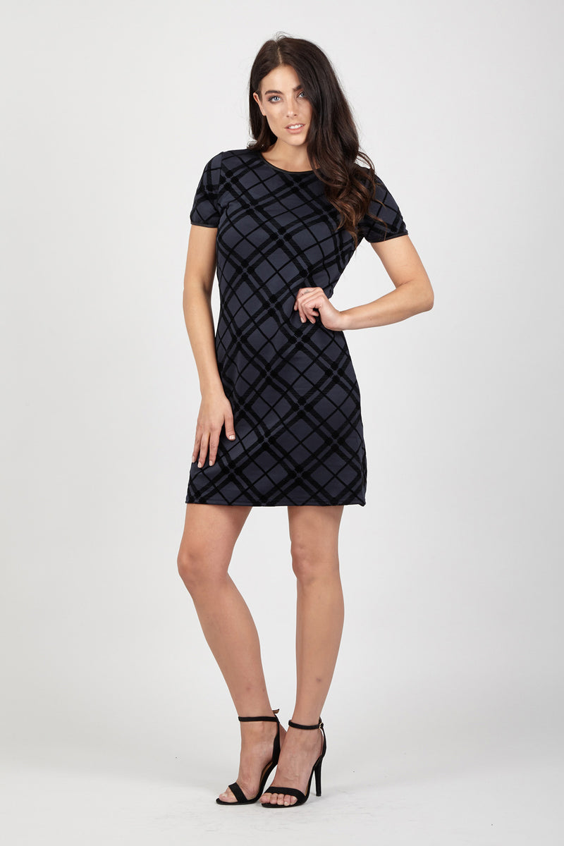 Diamond Check Shift Dress - Izabel London