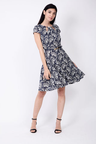 Fitted Midi Dress With Lace Panel