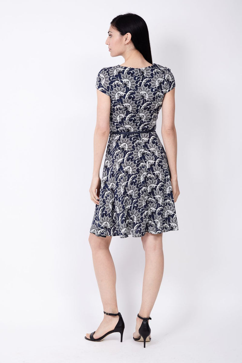 Navy | Damask Tea Dress