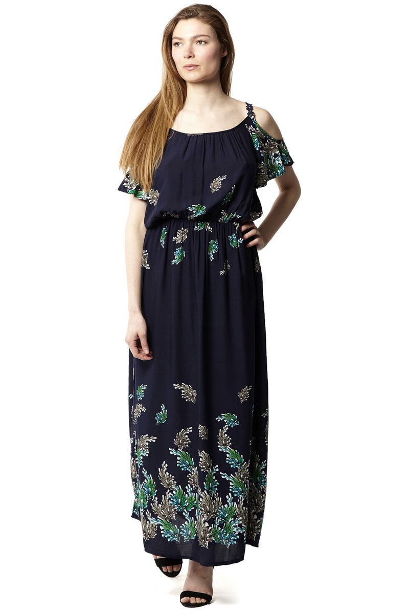 Navy | Cold Shoulder Maxi Dress