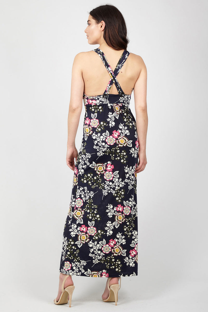 Navy | Floral Plunge Neck Maxi Dress