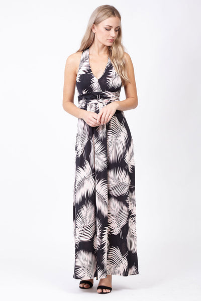 Feather Plunge Maxi Dress - Izabel London