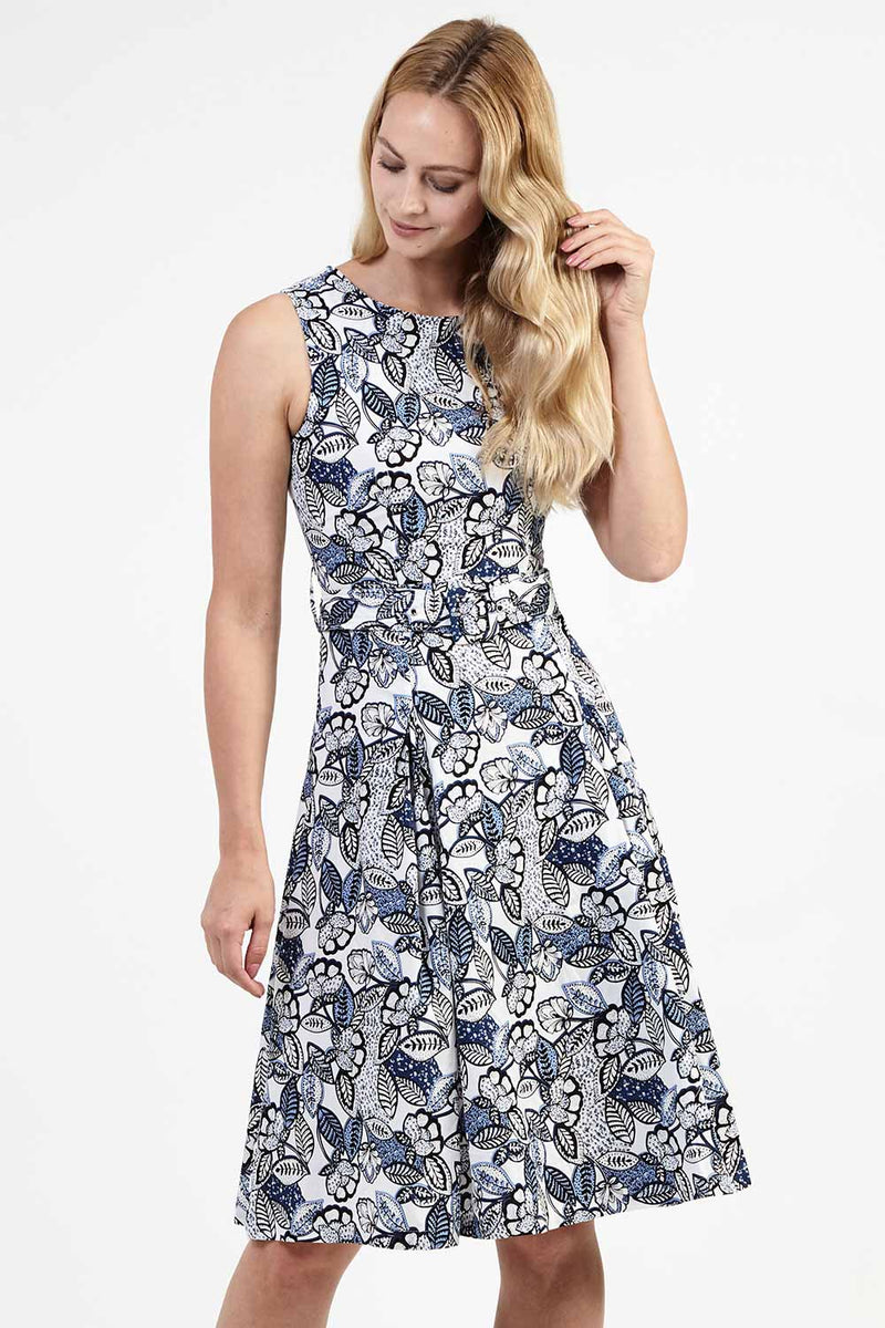 Leaf Print Midi Dress - Izabel London