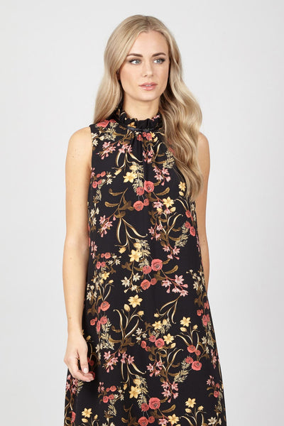 Ruffle Neck Shift Dress - Izabel London