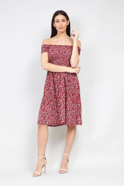 Ditsy Floral Bardot Dress - Izabel London