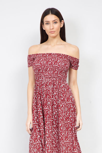 Red | Ditsy Floral Bardot Dress
