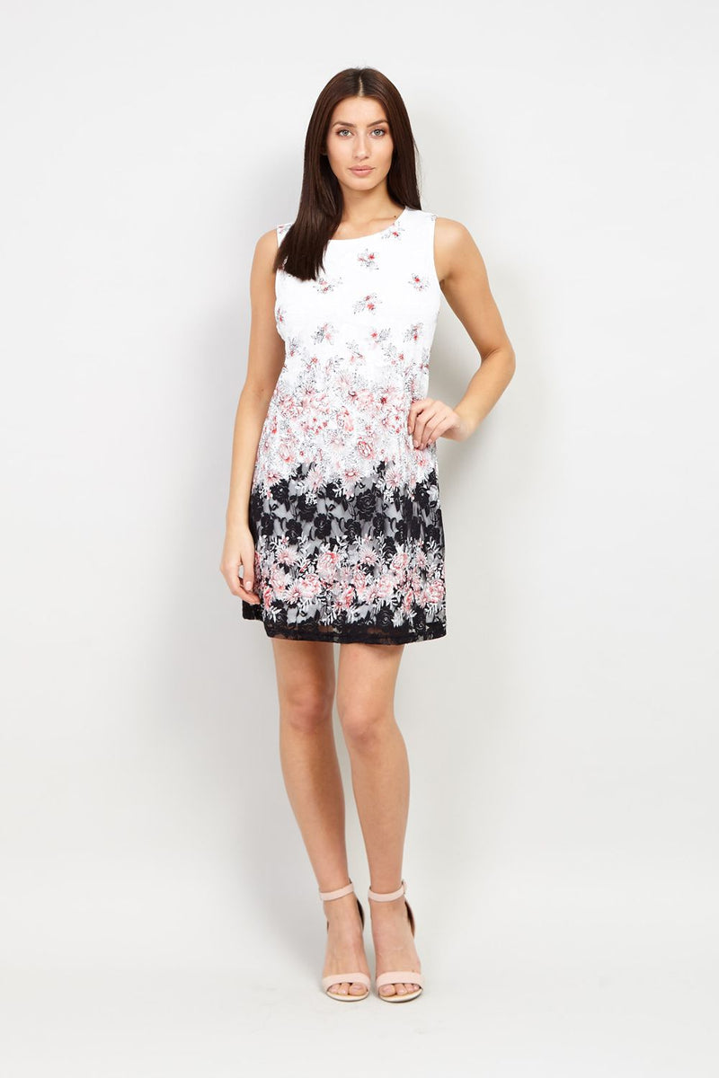 | Floral Lace Overlay Shift Dress | Izabel London