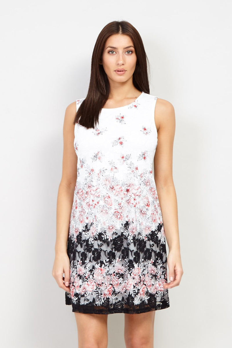 White | Floral Lace Overlay Shift Dress | Izabel London