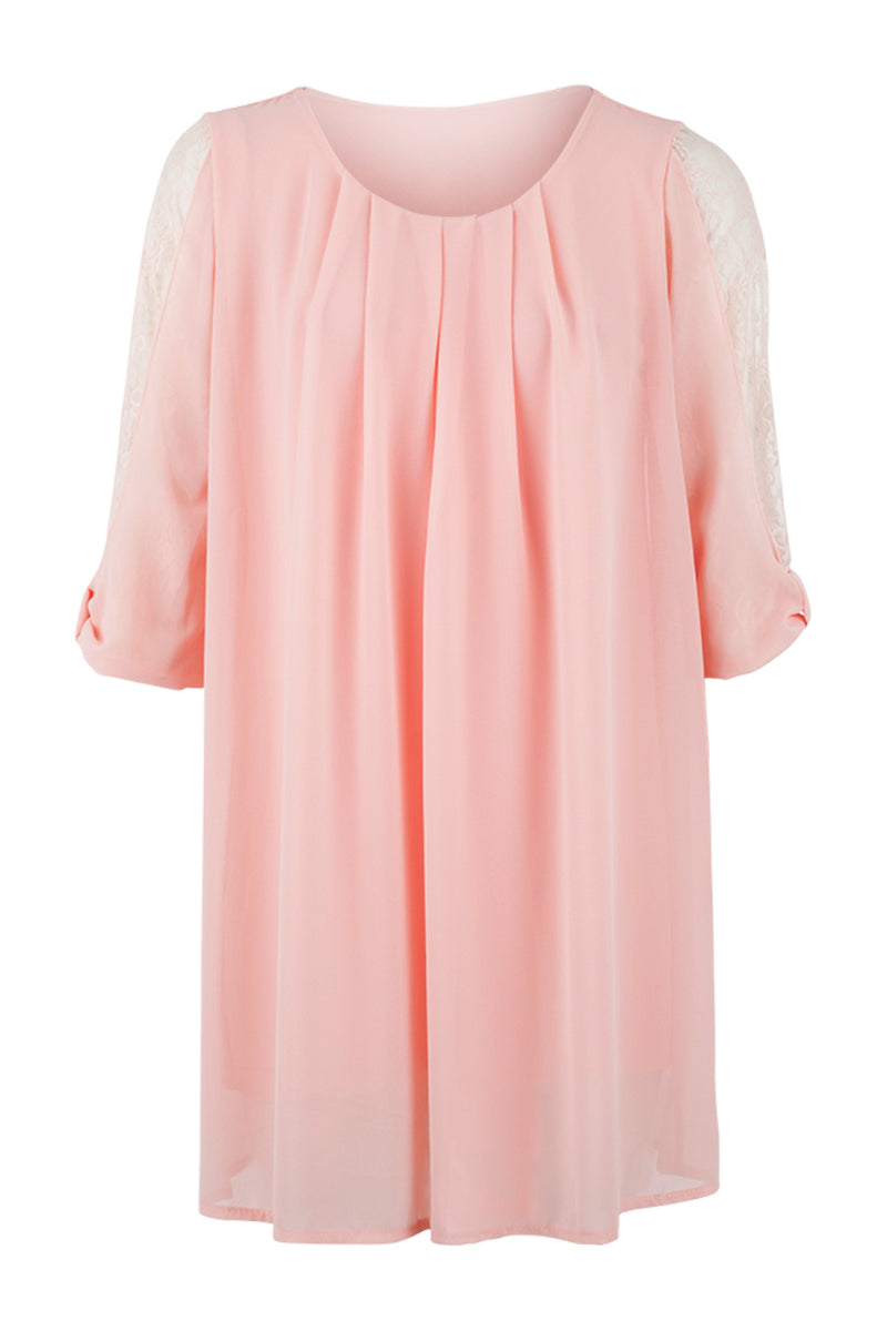Pink | Lace Sleeve Smock Dress