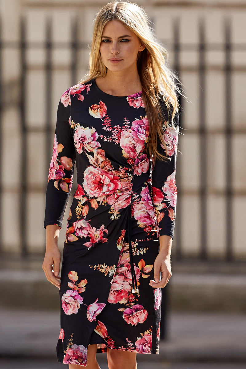Floral Ruched Bodycon Dress - Izabel London