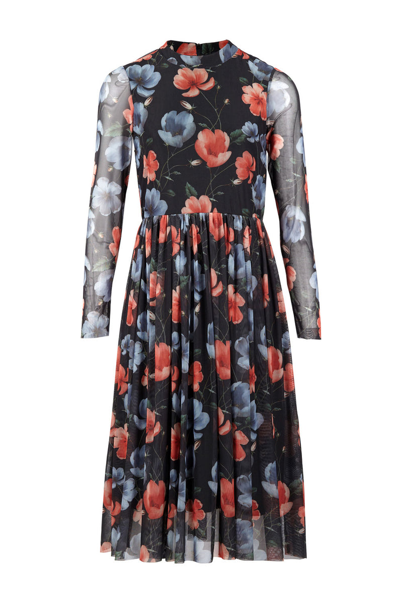 Sheer Floral Midi Dress - Izabel London