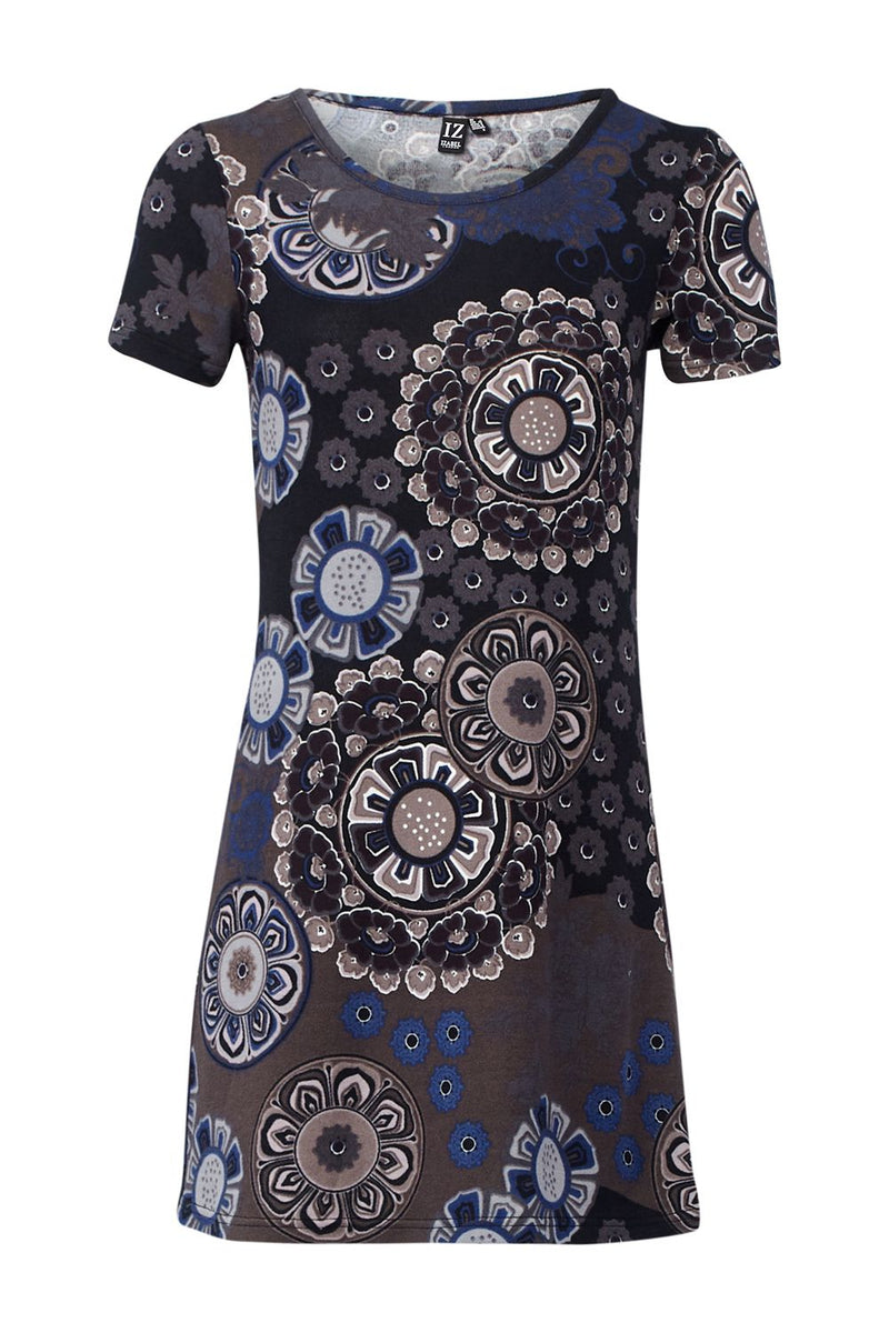 Grey | Mosaic Print Shift Dress