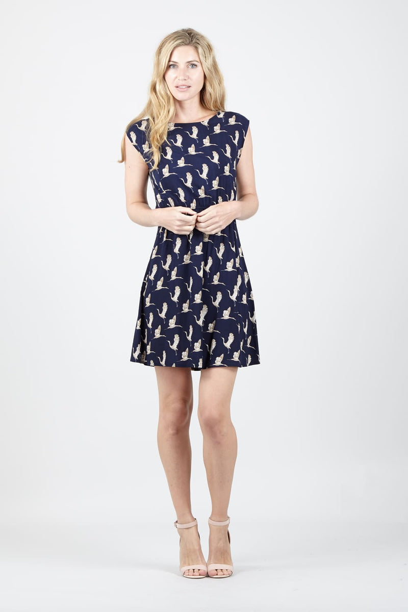 Navy | Bird Print Tea Dress